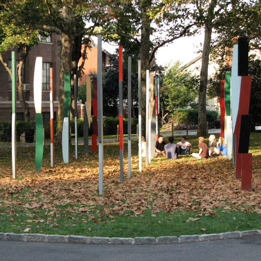 hank de ricco's rows of columns sculpture at pratt, autumn 2008