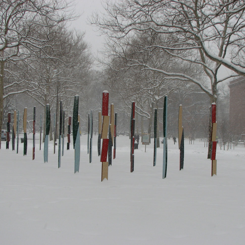 hank de ricco's rows of columns sculpture at pratt, 2008, zero