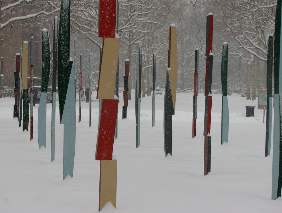 hank de ricco's rows of columns sculpture at pratt, 2008, nine