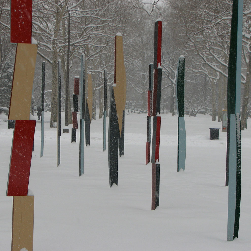 hank de ricco's rows of columns sculpture at pratt, 2008, ten a