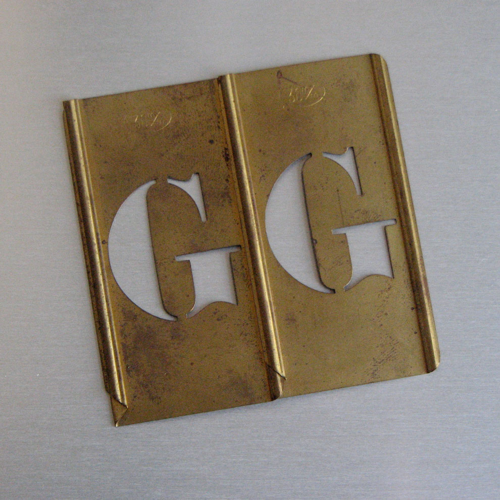 g&g: brass letter form writing templates