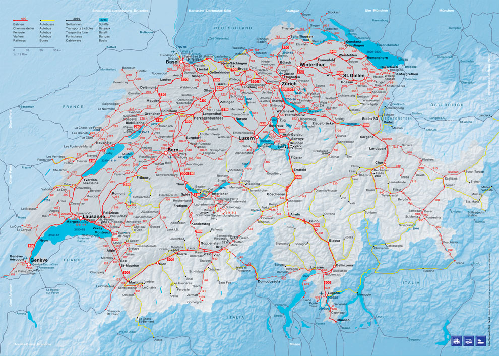 Switzerland Map Sbb