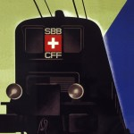 a vintage swiss travel poster with a detail of a sbb cff ffs locomotive