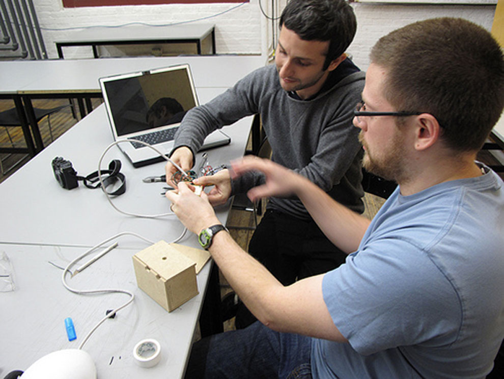 igal & noah working on the robotic prototype, november 2009