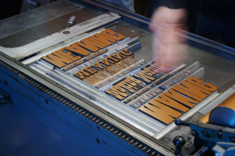 making meaning in copper tone ink on the letter press, november 5, 2009