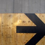 an arrow in the direction of progress on the construction site of a collaboration with herman miller, spring 2010
