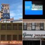 neon signage, like you will find at the buchstabenmuseum in berlin. from top left, clockwise: s. klein on the square in newark, new jesery, leuchtschriften wunder via computer, garry jewelers, on 5th avenue in brooklyn & obere apotheke, in schwäbisch gmünd. photography: matthew burger