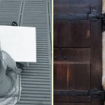 iD student, giulia nemmert drawing a monster in regensburg & saint jakob's door keeper. photographs: matthew burger 2012
