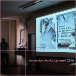 immersion workshop week 2016 at the oth / university of applied sciences regensburg. swiss graphic designer philipp kneubühler gives an informal talk about his educational & professional experiences in basel. photography: matthew burger